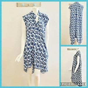 Rachel Roy L Blue Trapeze Dress Pockets High Low